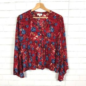 Umgee Meadow of Bliss Floral Peasant Blouse